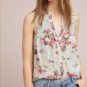 Anthro Meadow Rue Floral Tank